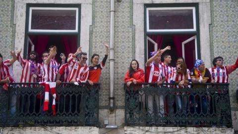 Atletico de Madrid fans before Champions League final