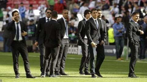 Atletico Madrid players before the Champions League final