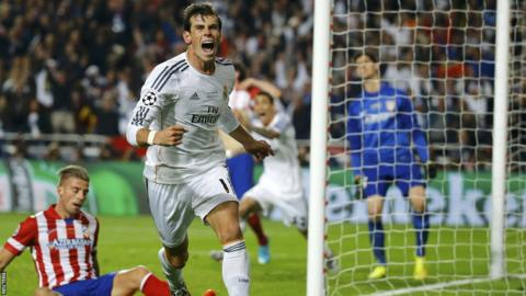 Gareth Bale wheels away in celebration after putting Real in front against Atletico in the Champions League final