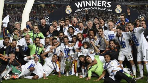 Real Madrid celebrate after beating Atletico Madrid 4-1 to win the Champions League