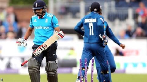 England batsman Ravi Bopara is dismissed