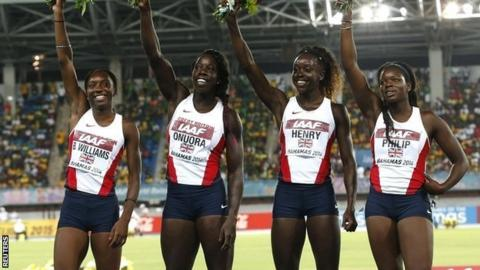 Bianca Williams, Anyika Onuora Desiree Henry and Asha Philip earn silver for GB