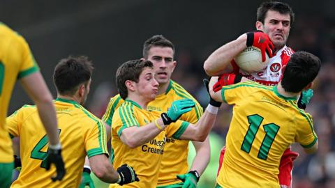 Derry's Mark Lynch was a closely marked man in the Ulster Championship match against Donegal