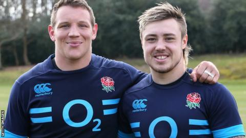 Exeter's England players Tom Johnson (left) and Jack Nowell