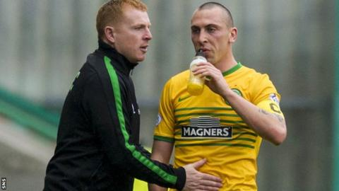 Neil Lennon with Scott Brown