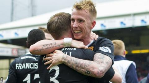 Craig Reid celebrates after helping Motherwell defeat Aberdeen