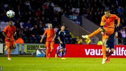 Hakim Ziyech scores for the Netherlands Under-21s against Scotland