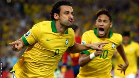 Brazil forwards Fred and Neymar