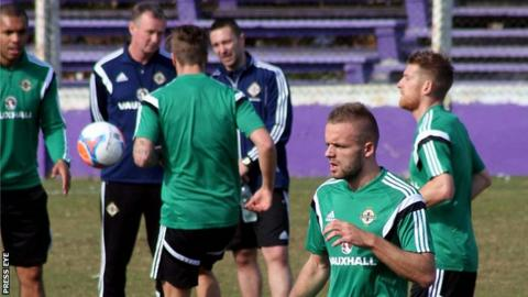 Ryan McLaughlin [second from the right] trains with the Northern Ireland squad in Montevideo