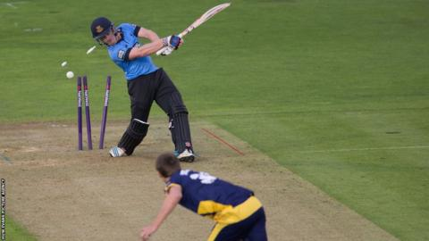 Glamorgan bowler Michael Hogan takes the wicket of Sussex's Ben Brown in their T20 match at Swalec Stadium on Friday night.