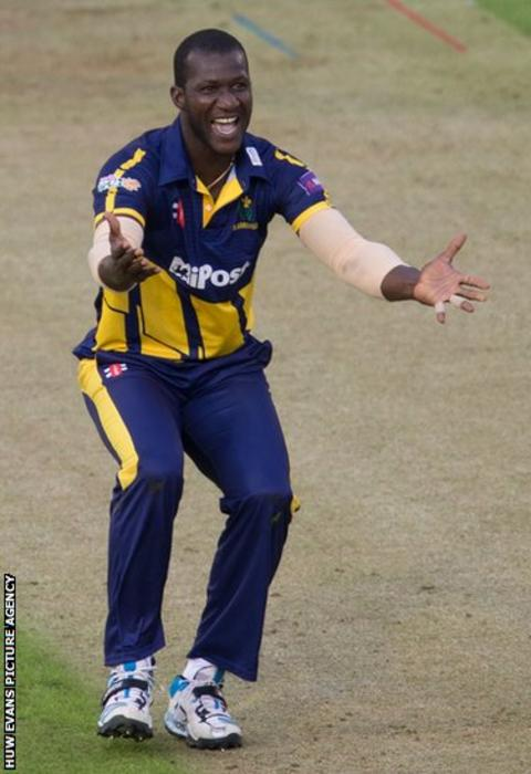 New Glamorgan signing Darren Sammy appeals in vain for a decision in the T20 match against Sussex.