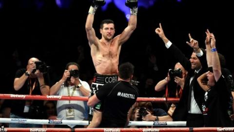 Carl Froch celebrates his win over George Groves