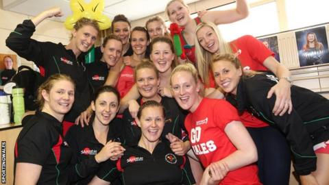The Wales netball team celebrate