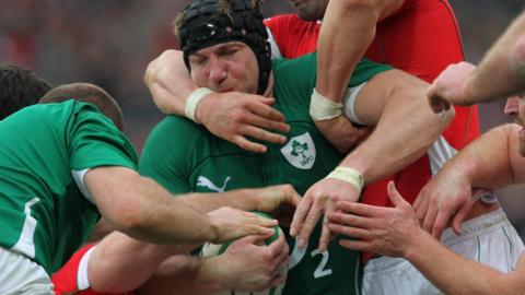 Stephen Ferris in action for Ireland against Wales in a 2010 Six Nations game