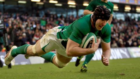 Stephen Ferris scores a try for Ireland during an autumn international against Argentina in 2010