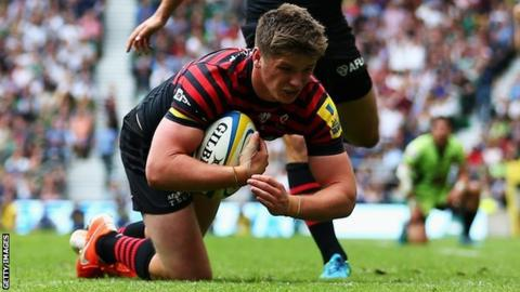 Saracens Owen Farrell scores a disallowed try in the Premiership Final against Northampton