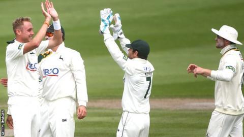 Stuart Broad celebrates