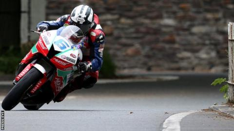 Michael Dunlop in action at the Isle of Man TT races