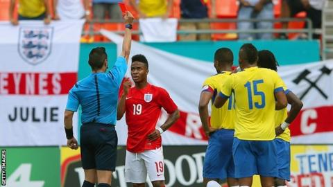 Raheem Sterling being show the record against Ecuador on Wednesday
