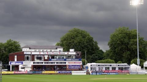 Dark clouds above the pavilion at Chelmsford on the final day of the County Championship match between Essex and Glamorgan.