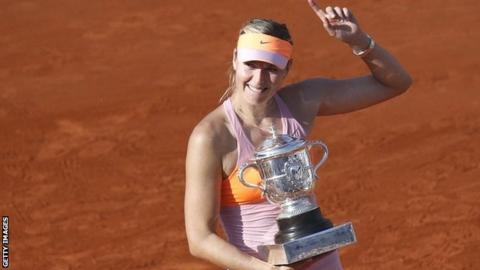 Maria Sharapova celebrates French Open victory