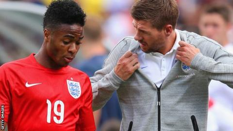 England forward Raheem Sterling (left) and captain Steven Gerrard