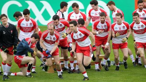 Derry team before the Ulster quarter-final against Donegal
