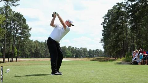 Stephen Gallacher tees off during a practice round at Pinehurst.