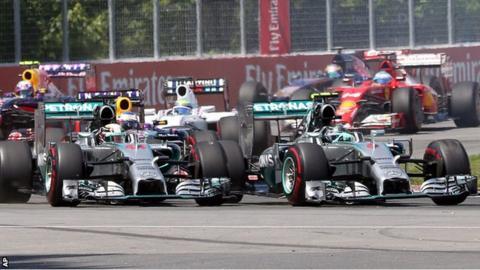 Lewis Hamilton and Nico Rosberg of Mercedes