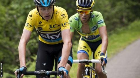 Britain's Chris Froome leads Alberto Contador uup the Col du Beal