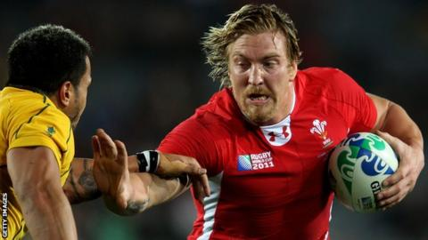 Andy Powell in action for Wales at the 2011 World Cup