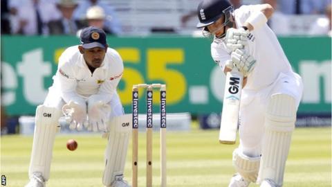 Joe Root during his half century for England against Sri Lanka
