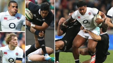 Clockwise from bottom left: England centres Billy Twelvetrees and Luther Burrell, New Zealand wing Julian Savea and England winger Manu Tuilagi