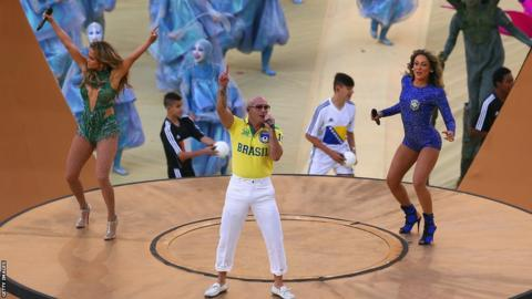 "Jennifer Lopez, rapper Pitbull and Brazilian singer Claudia Leitte perform the official World Cup song ""We are one"" during the opening ceremony"