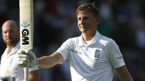 Joe Root celebrates his century for England against Sri Lanka at Lord's