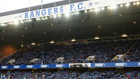 Rangers fans at Ibrox Stadium