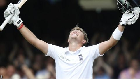 England batsman Joe Root celebrates his double century at Lord's