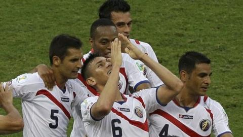 Oscar Duarte celebrates heading Costa Rica into the lead
