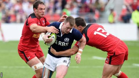 Stuart Hogg in action for Scotland against Canada