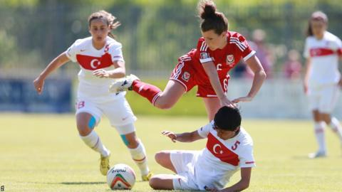 Wales' Angharad James is tackled by Turkey's Hanife Demiryol during the Women's World Cup qualifier at Haverfordwest, which the home side won 1-0.