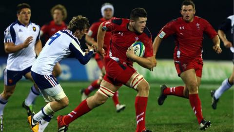 Wales U20's Rory Thornton makes a break during his side's narrow 18-19 defeat by France in the IRB Junior World Championship in New Zealand.