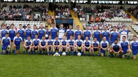 The Monaghan panel pose for their formal photograph before the throw-in at St Tiernach's Park in Clones