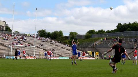 Tyrone keeper Niall Morgan misses the stoppage-time free which would have forced a replay in the Ulster Championship clash with holders Monaghan