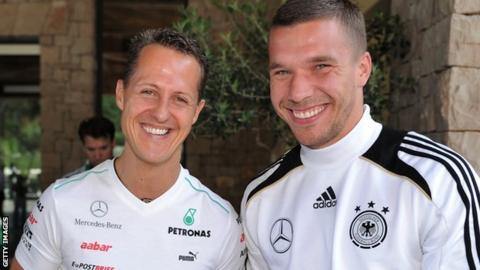 Michael Schumacher and Lukas Podolski