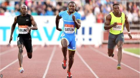 Justin Gatlin wins in the Czech Republic