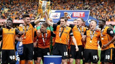 Wolves celebrate the League One title