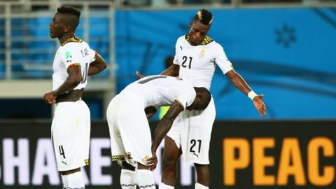 Ghana players look dejected after losing to United States