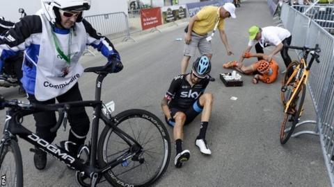 Bradley Wiggins after his crash