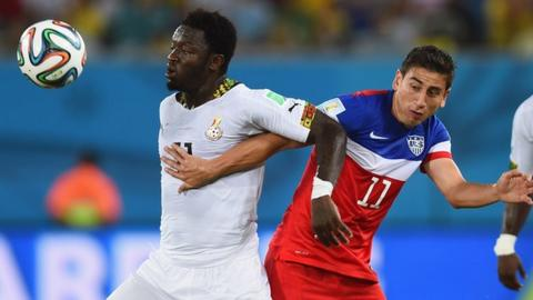 Sulley Muntari (left) in action for Ghana against United States