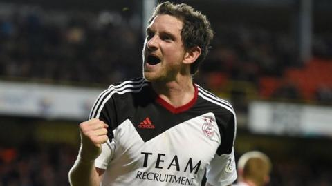 Scott Vernon celebrates one of his three goals for Aberdeen against Dundee United at Tannadice Park, May 2014